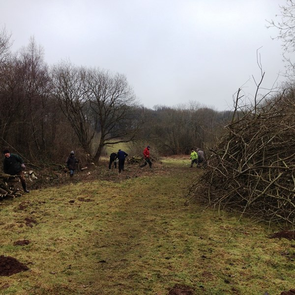Volunteers clearing along the racecourse